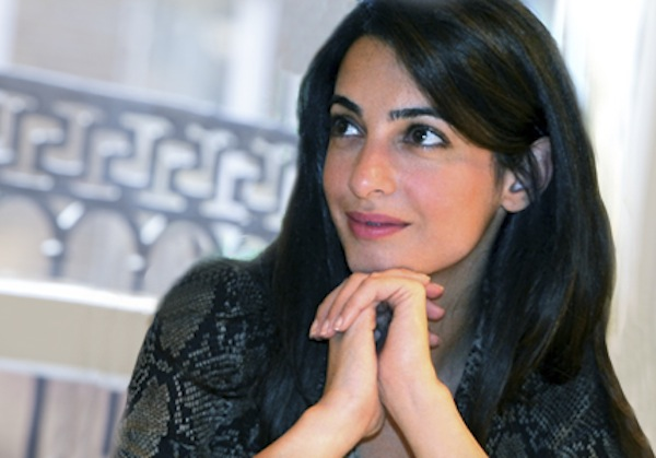 Amal Alamuddin Spotted In Chic Purple Skirt, Jacket