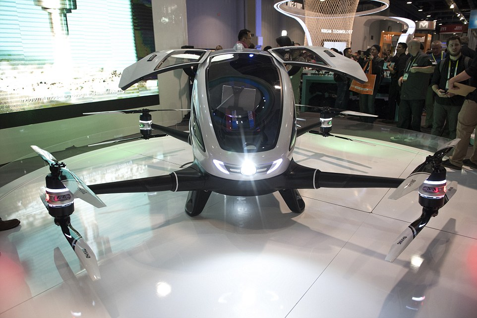 Chinese drone company EHang unveils the 184 Autonomous Aerial Vehicle at CES Las Vegas from the Las Vegas Convention Center in Las Vegas, Nev., on Wednesday Jan. 6, 2015. (Martin S. Fuentes for DailyMail.com)